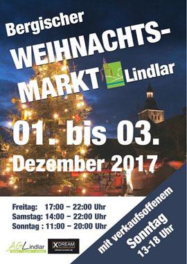 Bergischer Weihnachtsmarkt in Lindlar mit verkaufsoffenem Sonntag