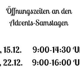Längere Öffnungszeiten an den Advents-Samstagen